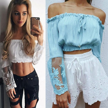 New fashion blue off-the-shoulder lace long sleeved cropped top
