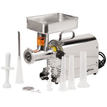 weston 081201w 12 meat grinder with 2 plates and 3 funnels