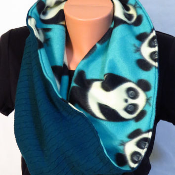 Upcycled Sweater Cowl - Fleece Lined - Blue Cable Sweater with Panda Fleece