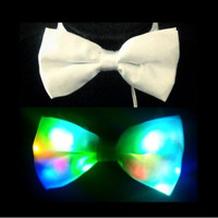 White Mulitcolor LED Light Up Bowtie