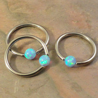 Pale Light Blue Fire Opal CBR Hoop Cartilage Hoop 20 Gauge Tragus Helix Rook