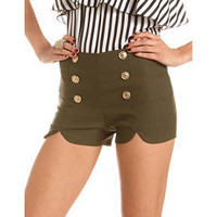 High Waist Military Millennium Short: Charlotte Russe