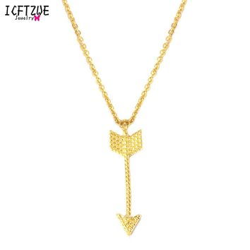 ICFTZWE The Hunger Games Necklaces & Pendants Silver Gold Tattoo Choker One Direction Simple Vertical Arrow Necklaces For Women