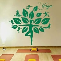 Wall Decals Yoga Tree Studio Meditation Gum Namaste Decal Vinyl Sticker Home Decor Bedroom Interior Design Art Mural MS746