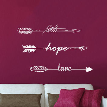 Wall Sticker Quotes Faith Hope Love Arrow Quote Vinyl Sticker Decal Art Home Decor Feather Arrows Hipster  Bohemian Bedroom