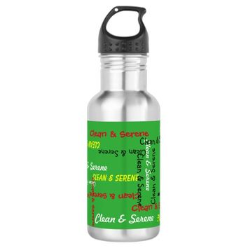 Water Bottle, Clean and Serene, Green Water Bottle