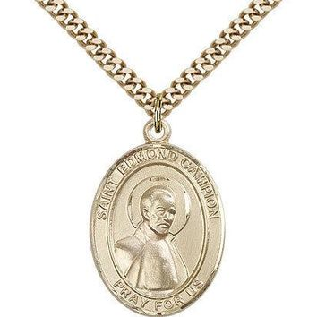 "Saint Edmund Campion Medal For Men - Gold Filled Necklace On 24"" Chain - 30 D... 617759008098"