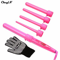 5 Part Curler Set 5p Clipless Curling Iron The Wand Interchangeable Hair Style Tool 5 in 1 Curling Wand Set HS25PQ -0.45WY