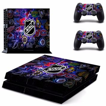 NHL Team Logo PS4 Skin Sticker Decal for Sony PlayStation 4 Console and 2 controller skins PS4 Stickers Vinyl Accessory