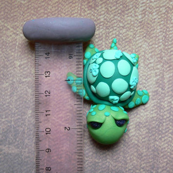 adorable wee turtle/polymer clay turtle/sculpture/figurine/polymer sculpture/ooak/turtles/clay turtle/turtle sculpture