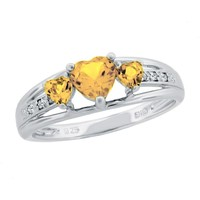 Citrine Heart Sterling Silver Diamond Accent Birthstone Ring - Size 7