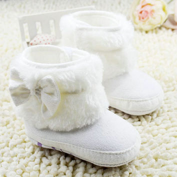 Baby Girl Bowknot Fleece Snow Boots Booties Kids Princess White Shoes for babies Winter