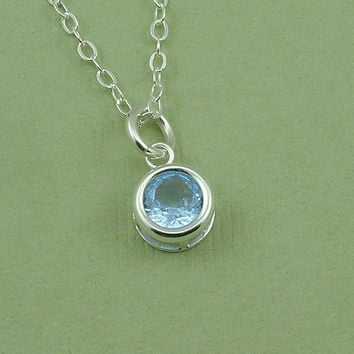 Birthstone Gemstone Necklace - charm necklace - aqua blue- gift