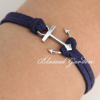 Anchor bracelet, navy bracelet, ocean bracelet, little silver anchor, gift to bestfriend,I'm an anchor