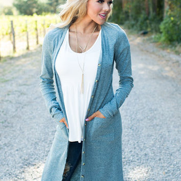 Modern Chic Long Pocket Cardigan Spring Olive