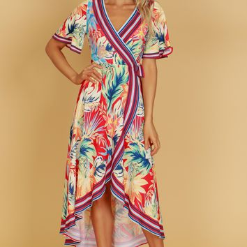 Tropical Print Wrap Dress Multi/ Red