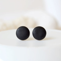 Black studs, matte black earrings, earrings for men, unisex, matte black studs, round studs, black stud earrings, mens earrings, mens studs