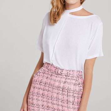 Molly Vintage Grid Tweed Skirt-Pink