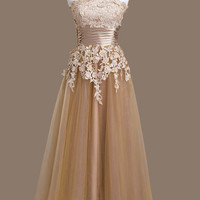 Prom Dress, Strapless Lace and Tulle Champagne Prom Dress, Ankle Length Prom Dresses, Evening Dresses,bridesmaid Dress