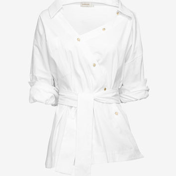 Zimmermann EXCLUSIVE Asymmetric Cotton Shirt at INTERMIX | Shop Now | Shop IntermixOnline.com