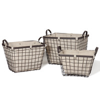 Rectangular Urban Style Baskets with Wide Rim and Snap Detail on Liner Home Decor