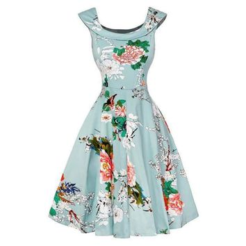 Mint with Floral Print Scoop Neck Sleeveless Swing Party Dress
