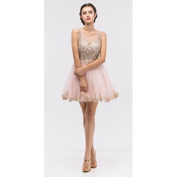 Blush Mesh Short Homecoming Dress with Appliqued Bodice and Hem