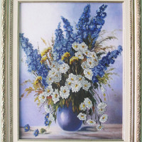 "Black friday code-10%.Free Shipping.Bead embroidery on art canvas ""Wild flowers"". Chamomile flowers.Blue&white flowers."