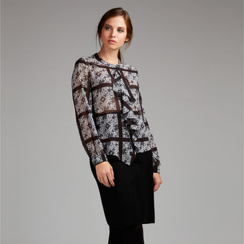Checkerboard Print Frill Front Blouse
