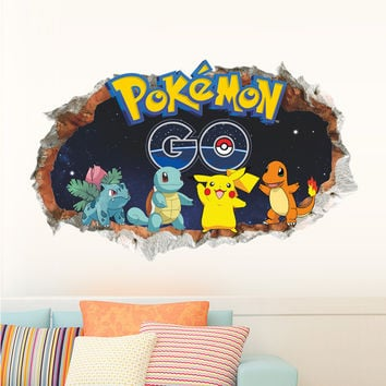 Cartoon Games Pokemon Go Wall Stickers Broken Wall Wall Decals Bedroom Children Room Decoration Poster Mural Children Gift SM6