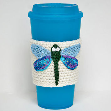 Coffee Cozy, Cup Cozy, Crocheted, Garden Dragonfly applique, Sleeve, Green with blue wings, aran colored sleeve, damselfly