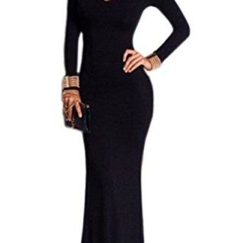 Engood Women's Elegant Slim Long Sleeve Hollow Out Bodycon Maxi Dress