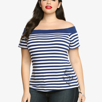 Rockabilly Striped Off-The-Shoulder Top
