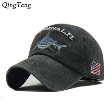 Trendy Winter Jacket Vintage Washed Denim Cap Snapback Embroidered Shark Baseball Caps Men Outdoor  Fishing Cap Cotton Casual Female Hat Dad Bone AT_92_12