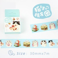 3 cm Wide Cat's Friends Panda Rabbit Cartoon Washi Tape Adhesive Tape DIY Scrapbooking Sticker Label Masking Craft Tape