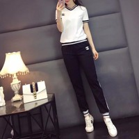 """Chanel"" Women Casual Fashion Multicolor Stripe V-Neck Embroidery Short Sleeve Trousers Set Two-Piece Sportswear"