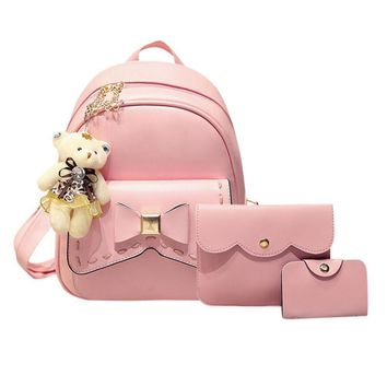 2017 Fashion Bowknot Backpack Women Leather School Bag For Teenage Girls Backpacks with Purse and Bear 3pcs/set sac a dos