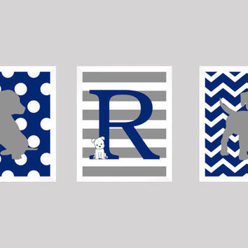 Puppy Nursery, Initial Monogram, Puppy Print, Monogram Print, Dog Print, Baby Decor, Kids Wall Art, Puppy Wall Decor, CUSTOMIZE YOUR COLORS