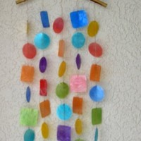 Multicolored Capiz Chime With Wood Arch Top by BCI