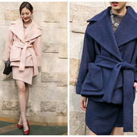 wool jacket women,wool coat,womens coat,womens jacket,oversized coat,wrap jacket,pink coat,navy coat,winter coat,winter jacket.--E0765