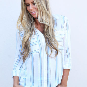 Penny Pinstripe Button Down {Ivory}