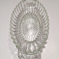 Vintage Glass Relish Dish/1960's Relish Dish/Scalloped Glass Relish Dish