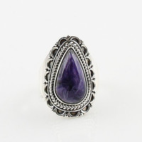 Charoite Sterling Silver Ring - keja jewelry