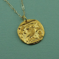 Gold Athena Owl Necklace - 24K gold plated - greek mythology jewelry - owl pendant