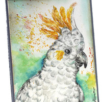 Original Handpainted OOAK, NOT A PRINT, Watercolor Card , white Cockatoo,  Love you. Handmade, Cockatoo bird,  Greeting Card,