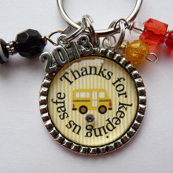 Thanks for keeping us safe School bus driver keychain, gift, present  teacher, kindergarten elementary school, bus driver