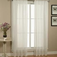 "Kate Elegance Set of 2 Sheer Curtain Panels 60"" Wide x 84"" Long - White"