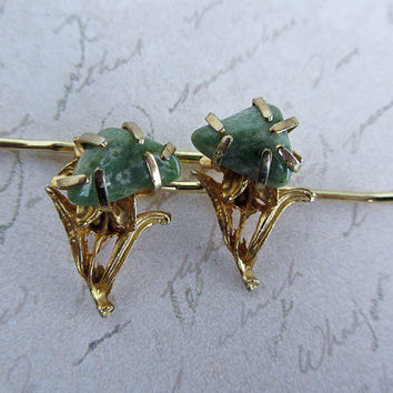 Vintage jade hair pins jade gold bobby pins ooak unique funky green stone