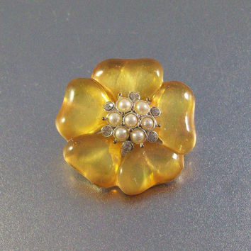 Flower Brooch Pendant, Amber Resin Rhinestone Pearl Accents