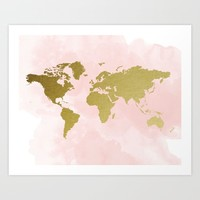 Gold World Map Poster Art Print by PeachAndGold